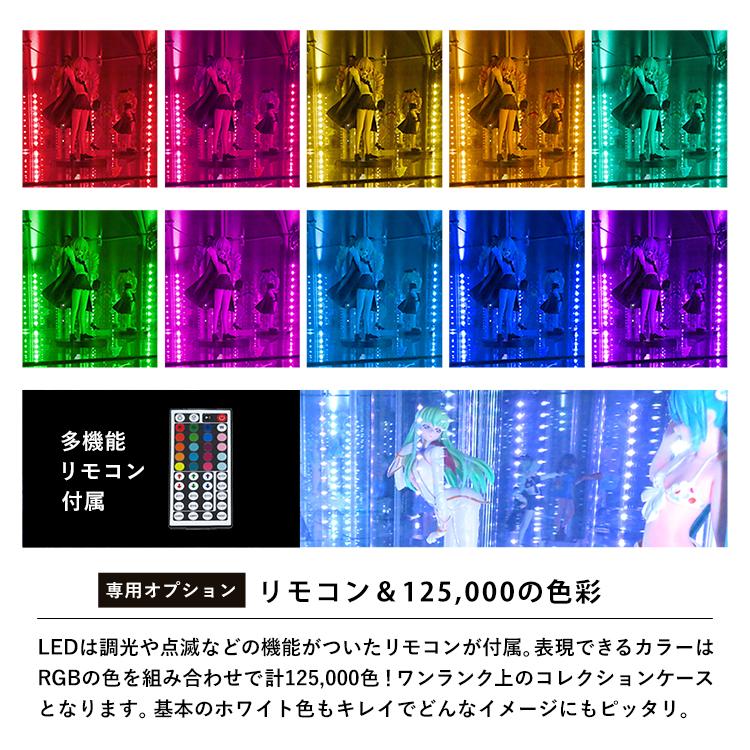 「専用オプション」リモコン&125,000の色彩。LEDには調光や点滅等の機能付きリモコンが付属。リモコンで表現できる色はRGBの色を組み合わせで、なんと125,000色!ワンランク上のコレクションケースが完成します。基本のホワイト色もキレイでどんなイメージにもピッタリです。