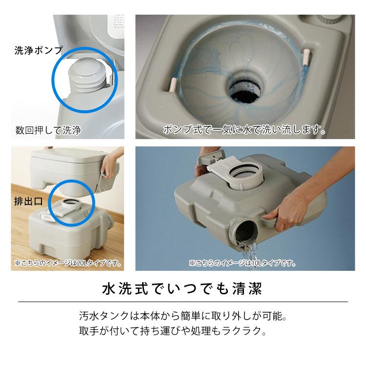 水洗式でいつでも清潔。汚水タンクは本体から簡単に取り外しが可能。取手が付いて持ち運びや処理もラクラク。