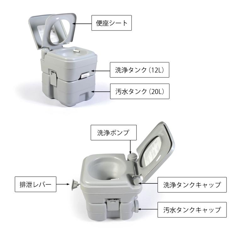 本格派ポータブル水洗トイレ 簡易トイレ20L 仕様